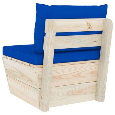 vidaXL Canapea de grădină din paleți, de mijloc, cu perne, lemn molid