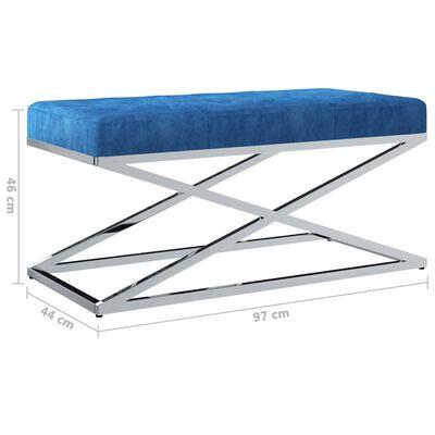 vidaXL Bancă, albastru, 97 cm, țesătură catifea și oțel inoxidabil