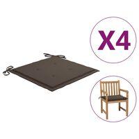 vidaXL Perne scaun de grădină, 4 buc., gri taupe, 50x50x4 cm, textil