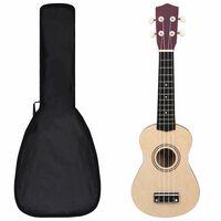 """vidaXL Set ukulele soprano, cu husă, pentru copii, lemn deschis, 21"""""""
