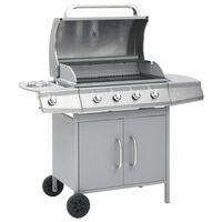 vidaXL Grătar pe gaz, zonă de gătit 4+1, argintiu