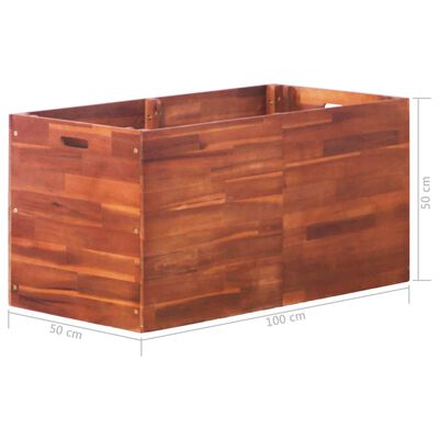 vidaXL Strat înălțat de grădină, 100 x 50 x 50 cm, lemn de acacia