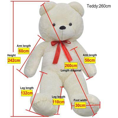 vidaXL Ursuleț de pluș de jucărie, alb, 242 cm