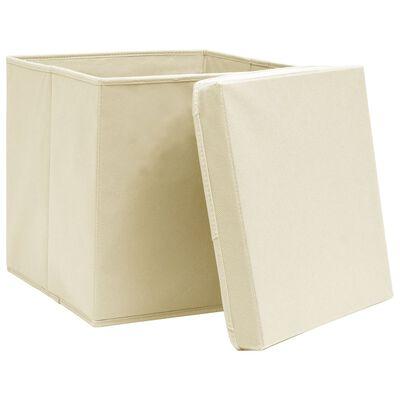 vidaXL Cutii de depozitare cu capac, 10 buc., crem, 28x28x28 cm