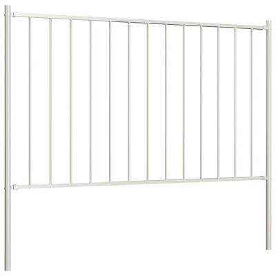 vidaXL Panou de gard cu stâlpi, alb, 1,7 x 1,25 m, oțel