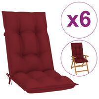 vidaXL Perne pentru scaun de grădină, 6 buc., roșu vin, 120x50x7 cm