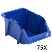 vidaXL Cutii depozitare stivuibile, 75 buc, 153x244x123 mm, albastru