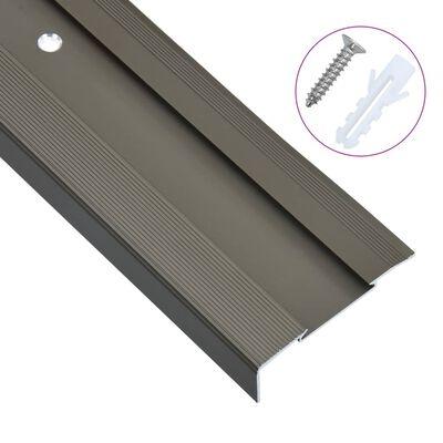 vidaXL Profile trepte în formă de L, 15 buc., maro, 134 cm, aluminiu