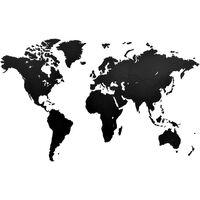 MiMi Innovations Decor perete harta lumii Luxury negru 130x78 cm lemn