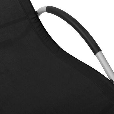 vidaXL Șezlonguri, 2 buc., negru și gri, textilenă