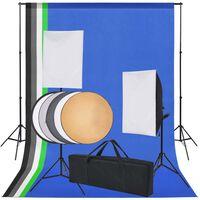 vidaXL Kit studio foto: 5 fundaluri colorate și 2 softbox-uri