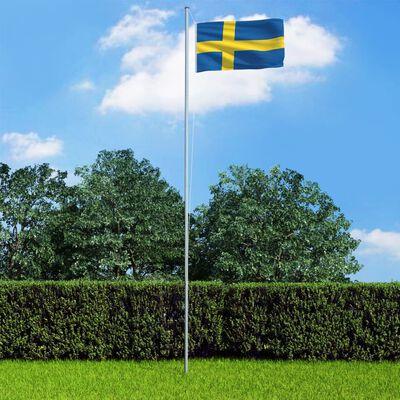 vidaXL Steag Suedia și stâlp din aluminiu, 6,2 m