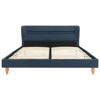 vidaXL Pat cu LED și saltea, albastru, 140 x 200 cm, material textil
