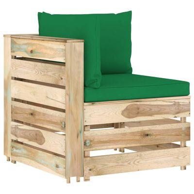 vidaXL Set mobilier de grădină cu perne, 9 piese, lemn verde tratat