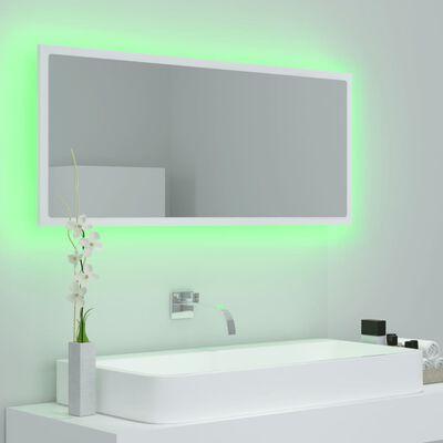 vidaXL Oglindă de baie cu LED, alb, 100x8,5x37 cm, PAL