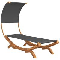vidaXL Pat de plajă cu baldachin, antracit, 100x216x162 cm, lemn molid