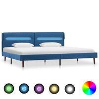 vidaXL Cadru de pat cu LED-uri, albastru, 180x200 cm, material textil