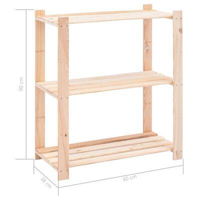 vidaXL Raft depozitare 3 niveluri, 80x38x90cm, lemn masiv pin, 150kg