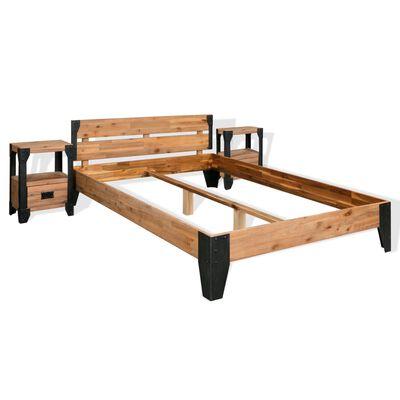 vidaXL Cadru pat cu 2 noptiere, Lemn masiv de salcâm, oțel 140x200 cm