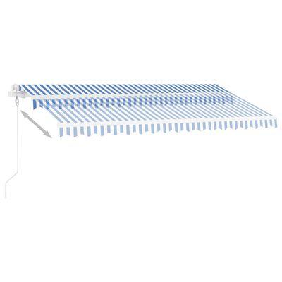 vidaXL Copertină automată senzor vânt/LED, albastru și alb, 450x300 m