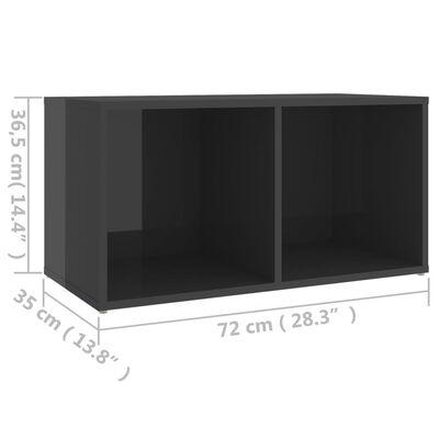 vidaXL Comodă TV, gri extralucios, 72x35x36,5 cm, PAL