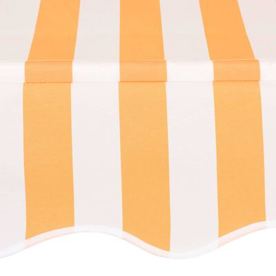 vidaXL Copertină retractabilă manual, portocaliu și alb, 350 cm, dungi