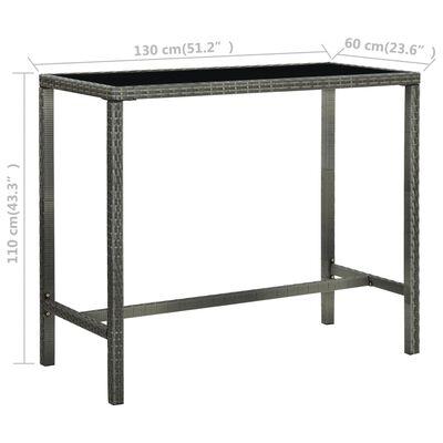 vidaXL Set mobilier bar de grădină, 7 piese, gri, poliratan