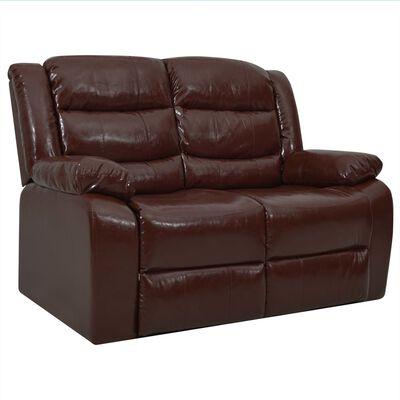 vidaXL Set canapea rabatabilă, 3 piese, maro, piele ecologică