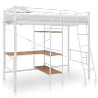 vidaXL Cadru de pat supraetajat cu masă, alb, 90 x 200 cm, metal