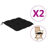 vidaXL Perne de scaun, 2 buc., negru, 40 x 40 x 7 cm, textil