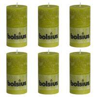 Bolsius Lumânări bloc rustice, 6 buc., verde mușchi, 130 x 68 mm