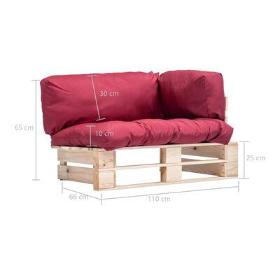 vidaXL Canapea de grădină din paleți cu perne roșii, lemn de pin