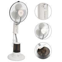 vidaXL Ventilator cu pulverizare ceață și piedestal, 3 viteze, alb