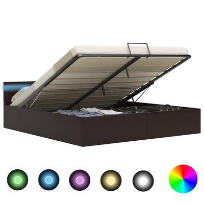 vidaXL Cadru pat hidraulic, depozitare, LED, gri, 160x200 cm piele eco