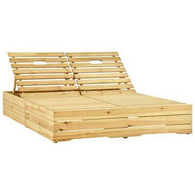 vidaXL Șezlong dublu cu perne verzi, lemn de pin tratat