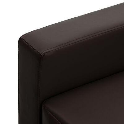 vidaXL Canapea cu 3 locuri, maro, piele ecologică