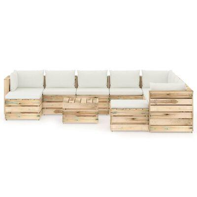 vidaXL Set mobilier grădină cu perne, 11 piese, lemn verde tratat