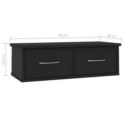 vidaXL Dulap de perete cu sertare, negru, 60x26x18,5 cm, PAL