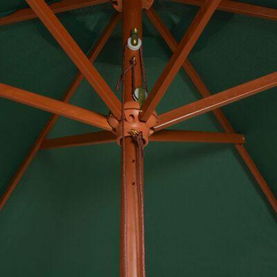 vidaXL Umbrelă de soare cu stâlp de lemn 200x300 cm, verde