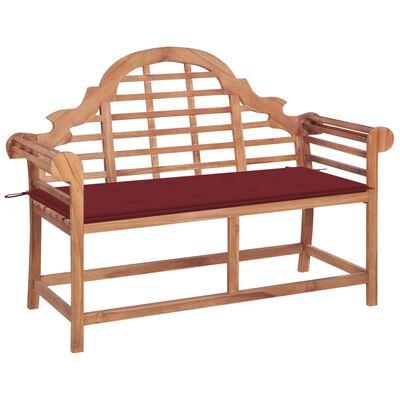 vidaXL Bancă grădină, cu pernă roșie, 120 cm, lemn masiv tec