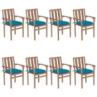 vidaXL Stackable Garden Chairs with Cushions 8 pcs Solid Teak Wood (4x43041+2x314873)