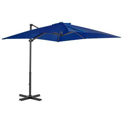 vidaXL Umbrelă suspendată stâlp aluminiu, albastru azuriu, 250x250 cm