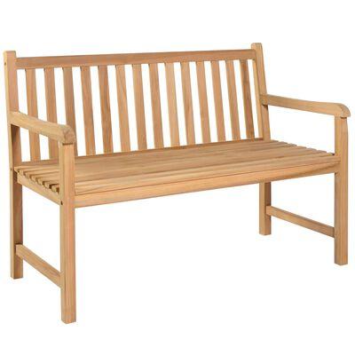 vidaXL Bancă de grădină, pernă antracit, 120 cm, lemn masiv tec