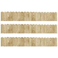 vidaXL Role de bordură, 3 buc., 120 cm, lemn de pin tratat