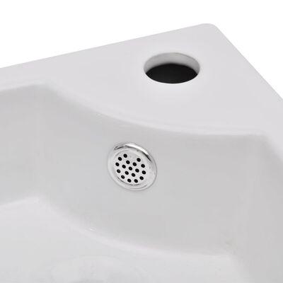 vidaXL Chiuvetă cu preaplin, alb, 45 x 32 x 12,5 cm