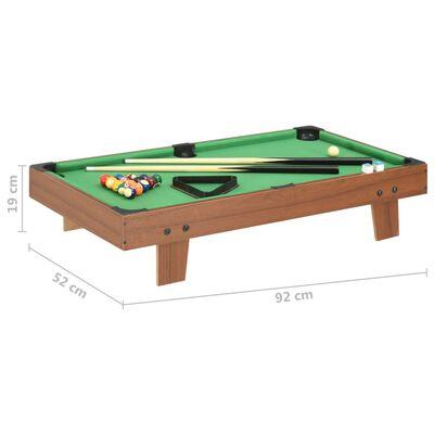 vidaXL Mini masă de biliard, 92 x 52 x 19 cm, maro și verde