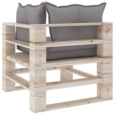 vidaXL Canapea de grădină din paleți, 2 locuri, cu perne, lemn de pin
