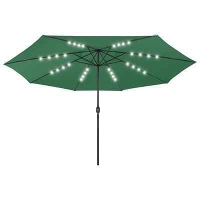 vidaXL Umbrelă de soare exterior, LED-uri & stâlp metal, verde, 400 cm