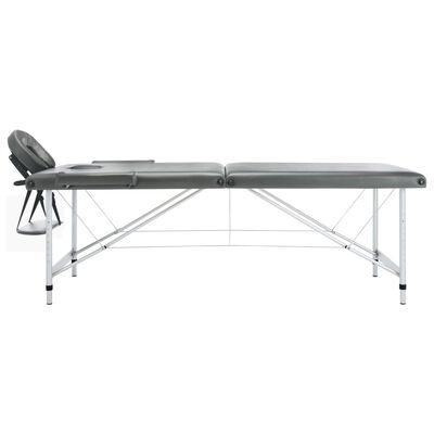 vidaXL Masă de masaj cu 2 zone, cadru aluminiu, antracit, 186 x 68 cm