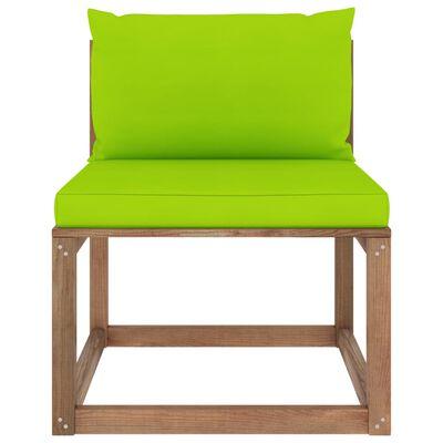 vidaXL Canapea de grădină din paleți, de mijloc, perne verde deschis
